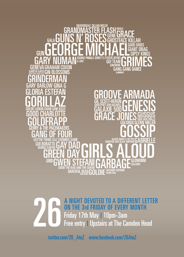 26 club at The Camden Head: the letter G